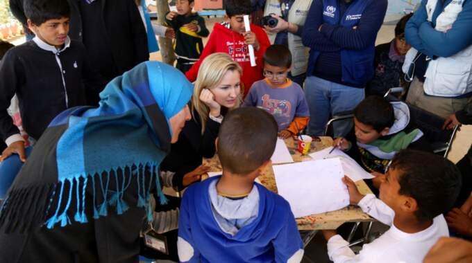 Ebba Busch Thor är i ett flyktingläger i Jordanien. Foto: Kristdemokraterna