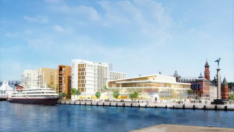 Det är på den rikskända och omdiskuterade ångfärjetomten i centrala Helsingborg som det planerade hotellet med 250 rum nu ska uppföras. Foto: Jais Arkitektbyrå