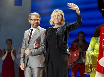 """Björn Ulvaeus och Agnetha Fältskog på sammas scen. """"Det har vi inte varit tillsammans sedan 1981 ocg vår sista konsert i Japan"""". Foto: Stefan Lindblom / Helsingborgs-Bild"""