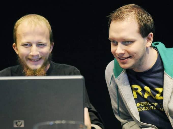 Peter Sunde (till höger) tillsammans med Gottfrid Svartholm.