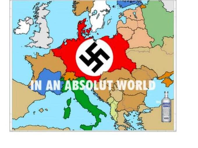 Valtersson skickade en nazistisk version av Absolut Vodkas reklam. Stortyskland var markerat med en röd naziflagga.