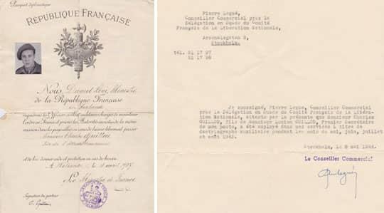 Här är familjen Guillous motbevis: Till vänster: Ett diplomatpass som intygar att Charles Guillou är son till handelsattaché Lucien Guillou, som fick uppdraget på ambassaden i Helsingfors - efter andra världskriget slut. Han skulle inte fått det uppdraget om han stöttat den Hitlerlojala Vichyregimen, menar familjen Guillou. Höger: Intyg som ska bevisa att Charles Guillou jobbar för den fria franska delegationen.