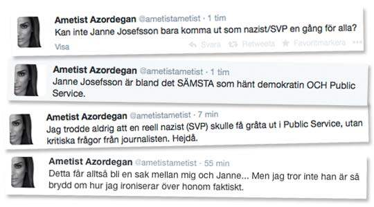Några av Ametist Azoredegans kommentarer på Twitter.