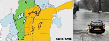 Regnområdet är på väg in från Polen och Tyskland. Lokalt kan det komma 50 millimeter regn. Varningen gäller det gula området. Foto: Karta: SMHI