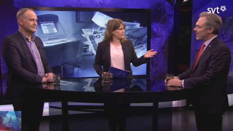Vänsterpartiets Jonas Sjöstedt och Liberalernas Jan Björklund debatterade ingångslöner för nyanlända i SVT:s Aktuellt. Foto: Skärmdump SVT