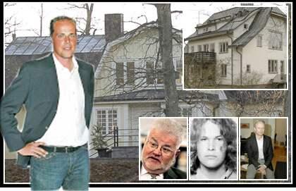 Stefan Bengtsson, 35 och H&M-miljardär, står framför ett av sina hus. Huset till höger i bild till hör Jan Bengtsson. Små porträttbilderna, från vänster till höger: Lars Hjorth, 64 och pensionerad regeringstjänsteman. Jan Bengtsson, 35 och H&M-arvinge. Per Spångberg, 41 och vd för Folkia.
