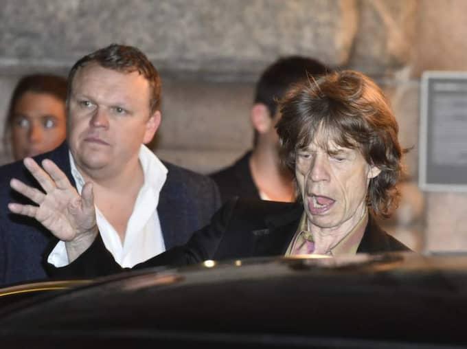 Mick Jagger, 70, var den av stenarna som höll ut längst i natt. Först vid halv två lämnade han Café opera.