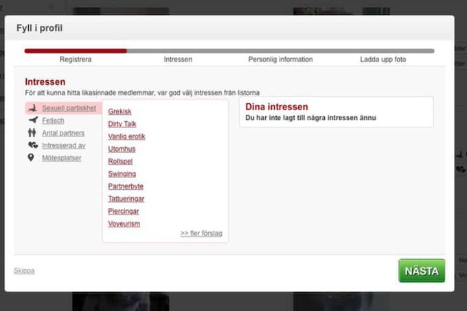 """STEG 2. Efter att ha bekräftat registreringen via mejl får användaren börja fylla i sina erotiska intresseområden. Här finns allt från olika fetischer och sextyper till föredragna platser för """"erotiska möten"""". Foto: Skärmdump"""