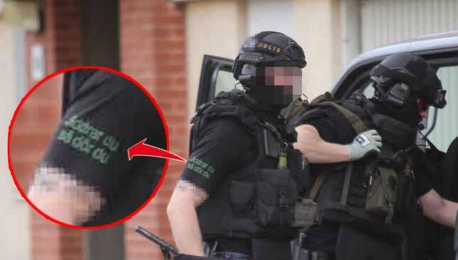 """""""Jiddrar du så dör du"""" står det på polisens tröja."""
