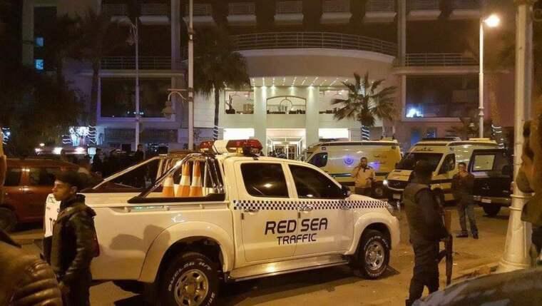 En attack har skett utanför entrén till Bella Vista Hotel i Hurghada, Egypten. Foto: Epa/TT
