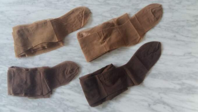 Suad Sheikhnurs strumpbyxor finns i nyanserna Cookie, Caramel, Cinnamon och Brownie, och i storlekarna small, medium och large. Foto: Privat