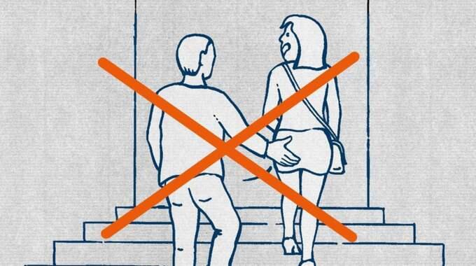 """""""Kvinnor ska respekteras, oavsett vad de har på sig. Det här gäller även tyska män"""", står det under den här bilden. Foto: SKÄRMDUMP"""