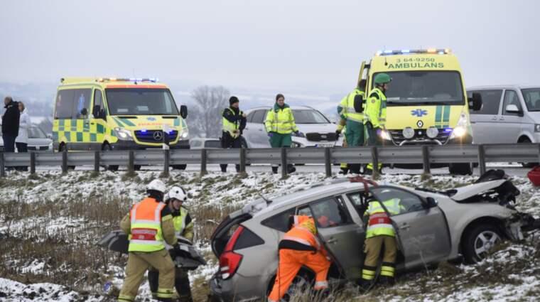 På E22 inträffade en singelolycka vid Gårdstånga i riktning mot Lund Foto: Andreas Holm