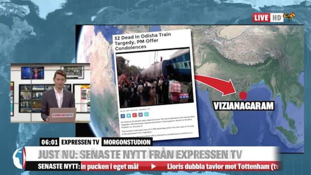 Många döda efter att tåg spårade ur i Indien