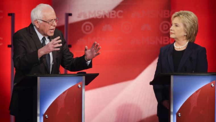 Bernie Sanders och Hillary Clinton möttes i New Hampshire Foto: David Goldman