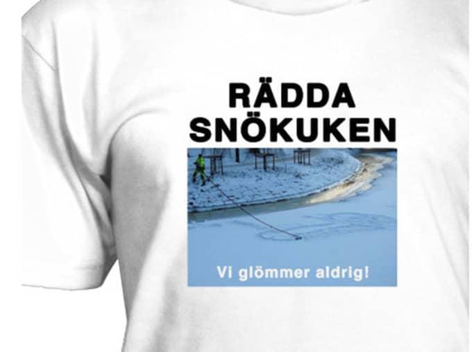 Här är t-shirten som ska rädda den så kallade snökuken. Foto: Privat Privat