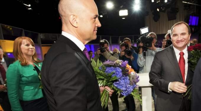 Annie Lööf, Fredrik Reinfeldt och Stefan Löfven. Foto: Olle Sporrong