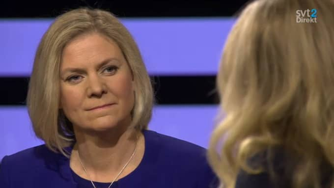 """""""Det var konstruktiva och bra samtal. Och alla inbjudna partier kom till mötet. Vi talade om plan- och byggregler, hur man ska få kommuner att bygga mer och även de flaskhalsar som finns i byggbranschen"""", säger finansminister Magdalena Andersson (S), som deltar i bosamtalen, i SVT:s Agenda. Foto: SVT"""