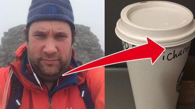 Richard köpte kaffe - stavningen på muggen fick honom att rasa