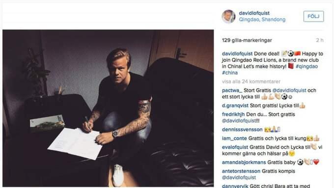 David Löfquist kan ha fått Kina-kontraktet efter ett Instagram-inlägg.