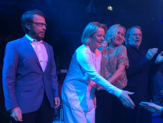 ABBA återförenades på scenen i går.