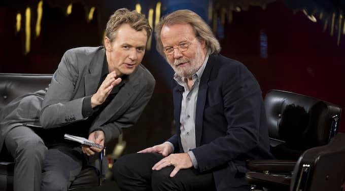 """Fredrik Skavlan och Benny Andersson under inspelningen av fredagens """"Skavlan"""". Foto: Mikael Sjöberg"""