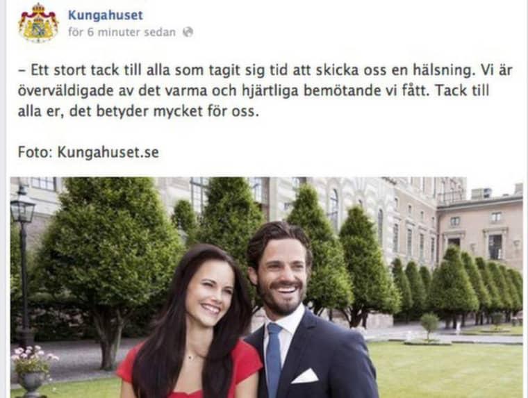 Gratulationerna har strömmat in till Carl-Philip och Sofia efter deras förlovning, nu tackar de tillbaks. Foto: Kungahuset.se