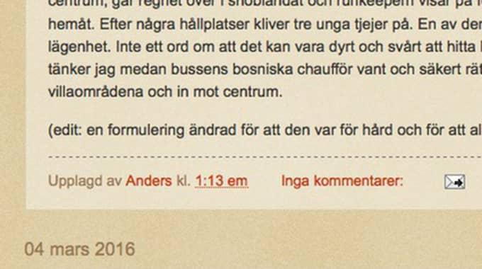 Politikern publicerade en ursäkt på sin blogg och berättade samtidigt att han tar en paus från bloggandet Foto: Skärmdump
