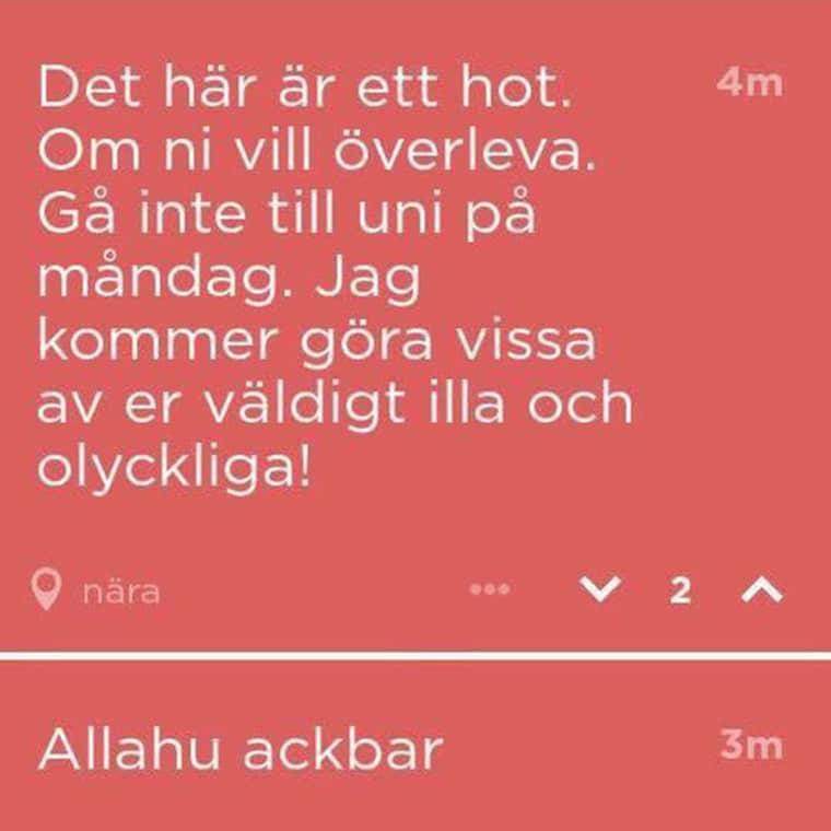 Här är det hot som riktats mot Örebro universitet genom appen Jodel.