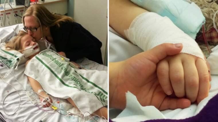 Nu har familjen Majunie fått ett skriftligt besked från Försäkringskassan angående svårt sjuka Saga. Foto: Privat