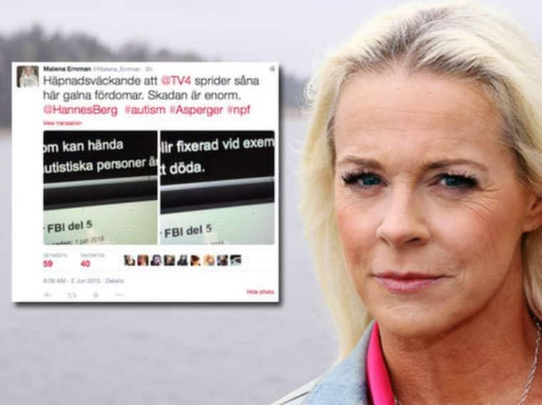 """Malena Ernman är upprörd efter att ha sett """"Svenska fall för FBI"""" och kräver nu en ursäkt från TV4."""