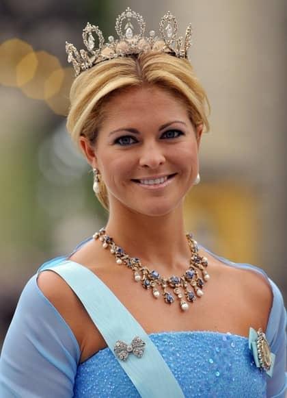 Vacker prinsessa. En leende Madeleine fick journalisterna att applådera. Foto: Dominique Charriau