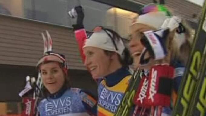 Trippelt norskt på pallen - igen. Foto: Bild från Eurosports sändning.
