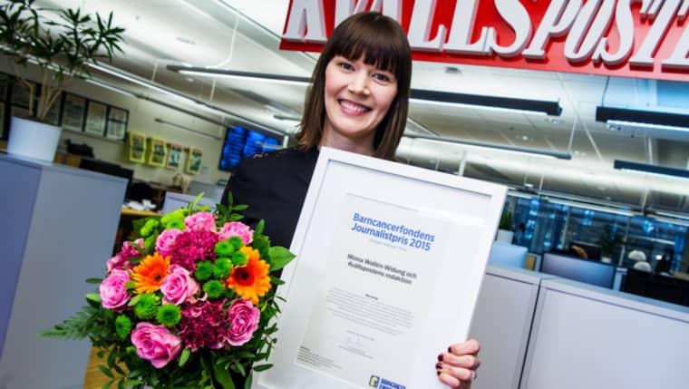 Kvällspostens reporter Minna Wallén Widung prisa med Barncancerfondens journalistpris. Foto: Christian Örnberg