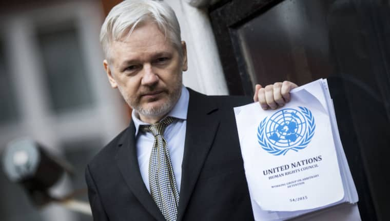 """Julian Assange, som flydde till Ecuadors ambassad i London 2012, anses av FN vara """"godtyckligt frihetsberövad"""". Foto: Rupert Hartley/Rex/Shutterstock"""