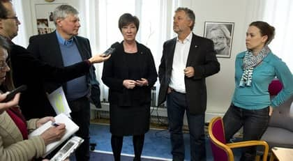 Lars Ohly, Mona Sahlin, Peter Eriksson och Maria Wetterstrand. Foto: Claudio Bresciani / Scanpix