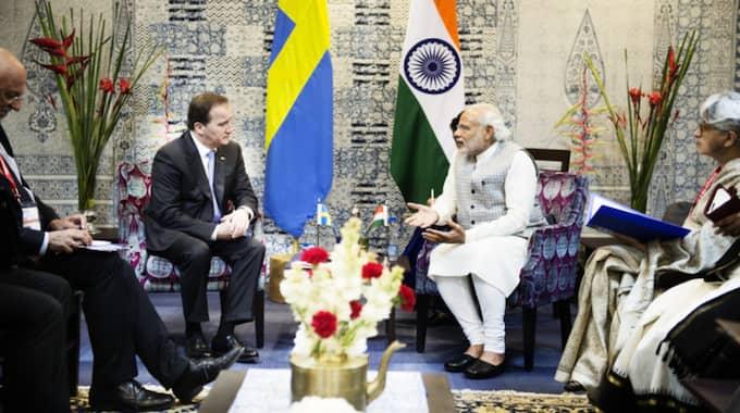 Indiens premiärminister Narendra Modi och Sveriges statsminister Stefan Löfven på besök i Mumbai, Indien. Foto: Anna-Karin Nilsson