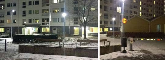 När polisen kom till platsen fanns varken bil eller personer kvar på platsen, men de hittade hylsor. Foto: Jens Andersson