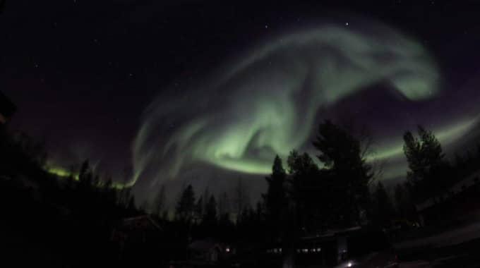 Här ser man norrskenet i den spännande formen. Foto: Marja-Terttu Karlsson