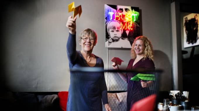 Agnes Wold tillsammans med Expressens Karin Sörbring. Foto: Robin Aron
