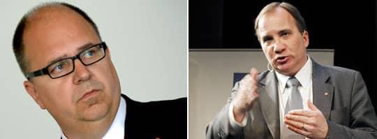 Lo:s ordförande Karl-Petter Thorwaldsson fick kalla handen av Stefan Löfven. Löfven vill inte sätta ett vinsttak i välfärden, i stället väljer S en mittenlinje och vill öka insynen. Foto: Scanpix, Cornelia Nordström