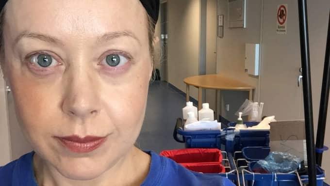 Expressens medicinreporter Anna Bäsén tog jobb som städare på Södersjukhuset i Stockholm för att granska hur städningen fungerar. Foto: Anna Bäsén