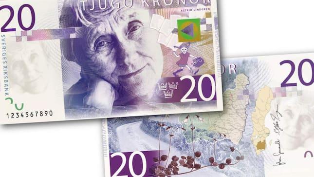 Astrid Lindgren kommer att pryda 20-kronorssedeln