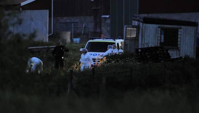 Sent på fredagskvällen sökte tekniker igenom ladan där fynden hittades. Foto: Axel Ljungdahl