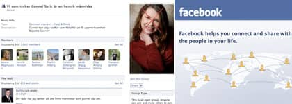 """Någon har skapat gruppen """"Vi som tycker att Gunnel Saric är en hemsk människa"""" på Facebook."""