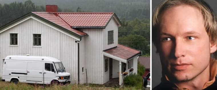Här är Anders Behring Breiviks gård i Norge. Här ska han ha tillverkat bomben som han utlöste i Oslo. Foto: Scanpix