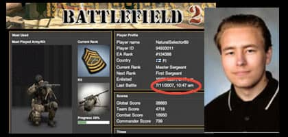 """Pekka-Eric Auvinen startade dagen med att spela det svenska krigsspelet """"Battlefield II""""."""