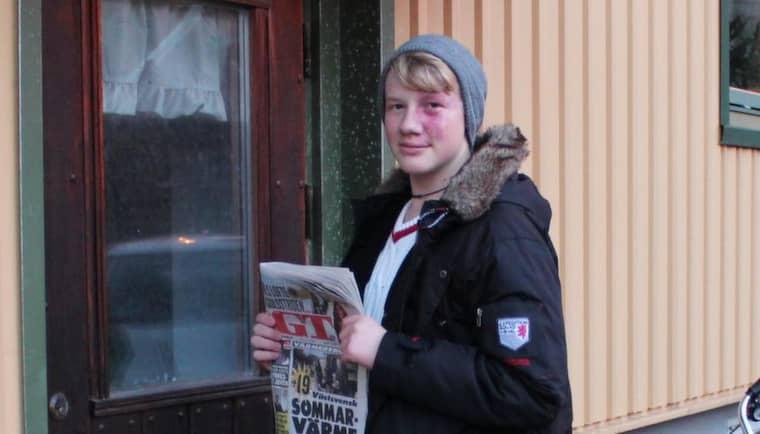 UNGDOMSSÄLJARE. Efter tre år som lyckosam GT-försäljare i Surte lämnar Albin Lundblom Melin sitt distrikt till någon annan lagom till jul. Foto: PRIVAT