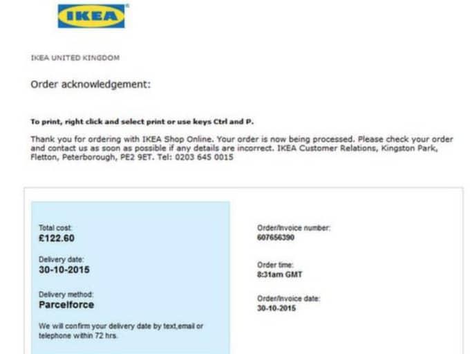 """""""Mejlen som skickats innehåller en mycket trovärdig orderbekräftelse från IKEA"""", skriver polisen i sin varning. Foto: Polisen"""