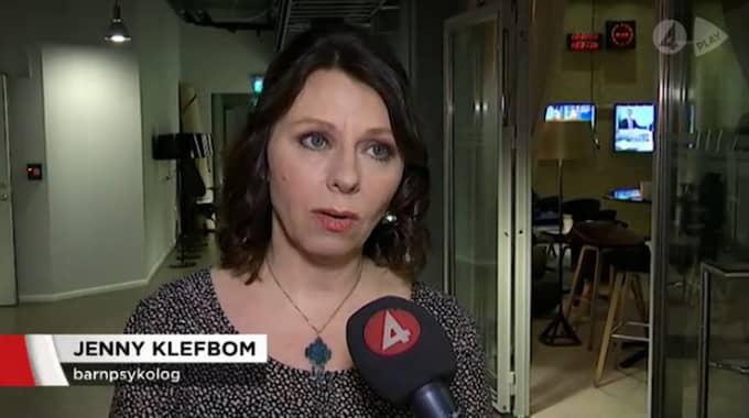 Barnpsykologen Jenny Klefbom riktar hård kritik mot föräldrar som låter sina barn spela våldsamma spel i ett nyhetsinslag på TV4. Foto: FAKSIMIL/TV4